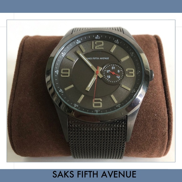 Saks Fifth Avenue Other - Red Saks Fifth Avenue Chronograph Mesh Wristwatch